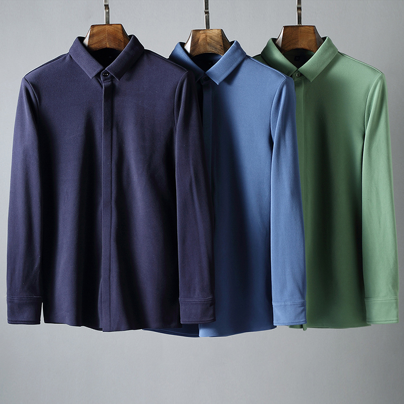 JSBD Double-sided Pile Warm Heat Fabric Autumn Winter Pure Color Mill Wool Shirt Man Long Sleeve Plus Pile Thickening