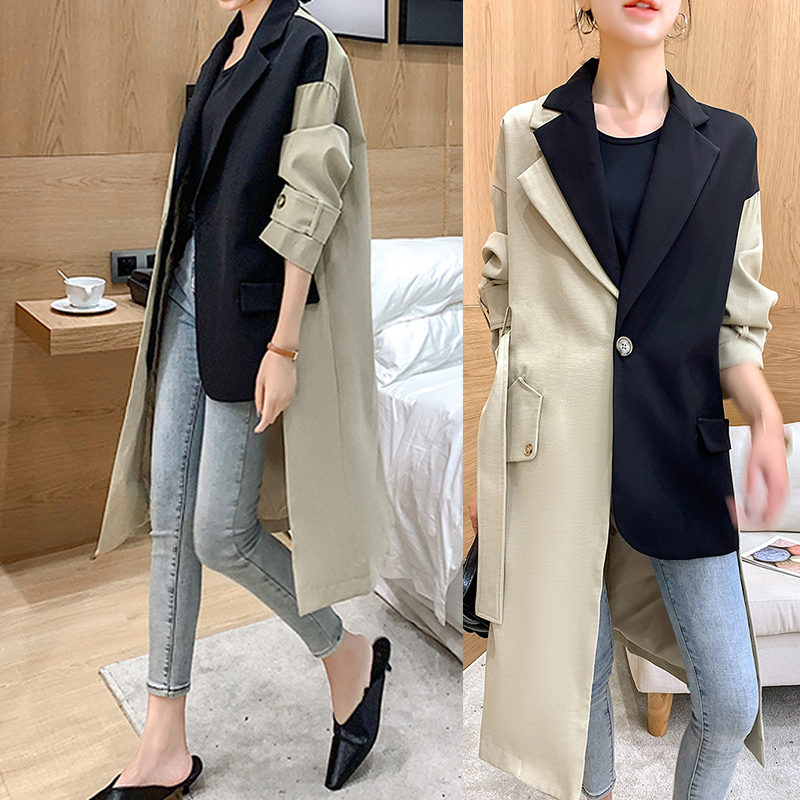 Outwear Blazer Trench-Coat Streetwear-Runway Patchwork Korean-Colors Femme Fashion Women