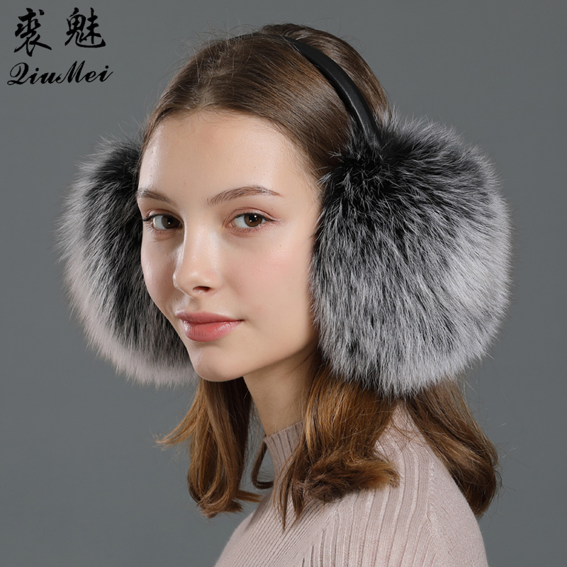 Fox Fur Winter Earmuffs Ear Warmer Genuine Leather Frame Wind Proof Russian 2020 New Female Protection Real Fur Earmuffs Women