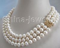 17 19 3row 8 9mm natural white round freshwater pearl necklace