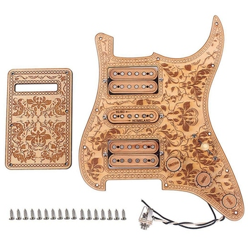 цена на 3-Ply Maple 11 Hole HSH Loaded Prewired Electric Guitar Pickguards Pickups