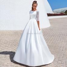 Modest Satin Line suknie ślubne Vestido De Noiva trzy czwarte O dekolt przycisk suknie ślubne dla panny młodej zasznurować sąd pociąg