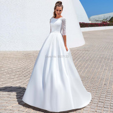 Vestidos de noiva de cetim modesto a linha vestidos de casamento vestido de noiva de três quartos o decote botão laço acima tribunal trem