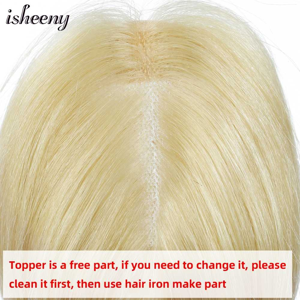 """7x10cm Blonde Topper Wig Human Hair For Women 10""""-20"""" Breathable MONO PU Base With Clip In Hair Toupee Remy Hairpiece"""