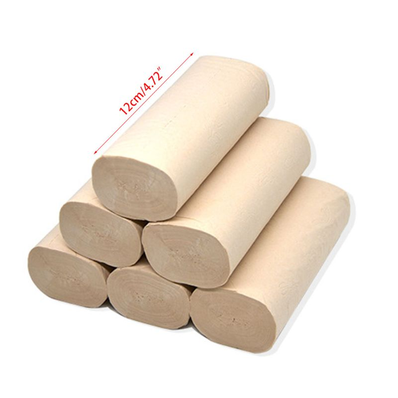 12 Rolls Natural Bamboo Pulp Roll Paper Toilet Paper 4 Layer Thickened Strong 50JF