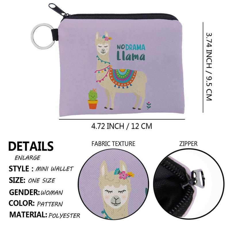 Western Style Alpaca Printed Creative Storage Mini Purse Portable Cool Mini Wallet Key