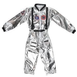 Image 4 - Eraspooky Boys Spaceman One piece Jumpsuit Silver Astronaut Cosplay Children Pilot Uniform Helmet Halloween Costume Kids Party