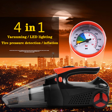 4 In 1 120W Mini Vacuum Cleaner Car with Pump Tire Pressure Detection Inflatable LED Lighting Handheld Autos