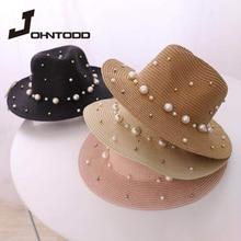 Cap Straw-Hat Panama-Straw Pearl Summer Flower Sun-Visor Jazz Wide-Brim Ladies New Rivet