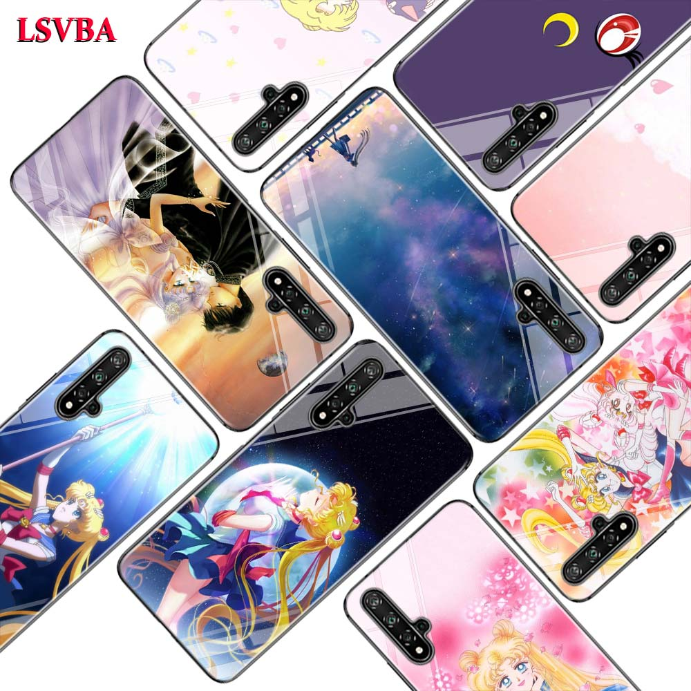 Black Cover Sailor Moon <font><b>Anime</b></font> for <font><b>Huawei</b></font> <font><b>Honor</b></font> 10i 9X 8X 20 10 <font><b>9</b></font> <font><b>Lite</b></font> 8 8A 7A 7C Pro <font><b>Lite</b></font> Super Bright Glossy Phone Case image