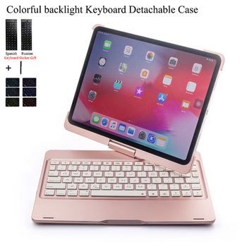 цена на For iPad Air 3 10.5'' Rotate Colorful Backlight Wireless Bluetooth Keyboard Case Cover For iPad Pro 10.5'' Aluminum Alloy Fundas