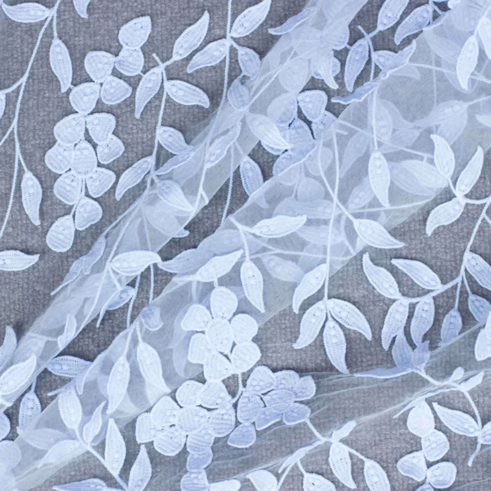 Width 120CM White Embroidered Wedding High Quality African Tulle Mesh Lace Fabric 3D Flowers Embroidered Tulle DIY Lace Fabric