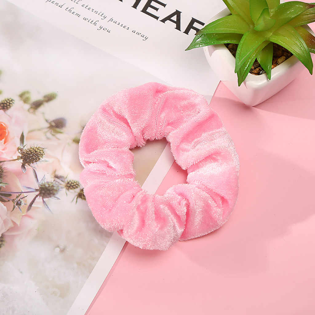 1 Pcs Solid Scrunchie Women Elastic Hairband Velvet accesorios para el cabello for Women or Girls Hair Accessories