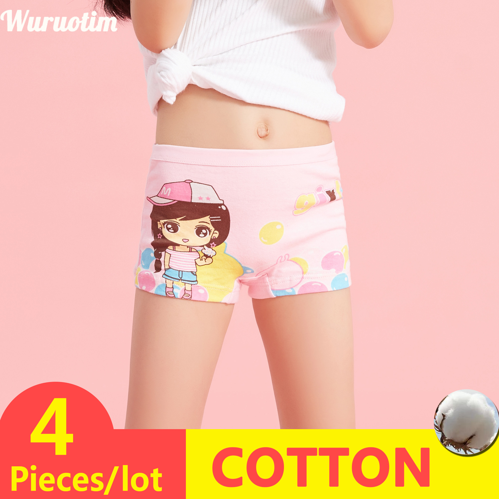 4 Pieces/lot New Design Children Girl Panties Cotton Soft Pretty Cartoon Child Underwear For Kids Boxer Girls Panties Breathable