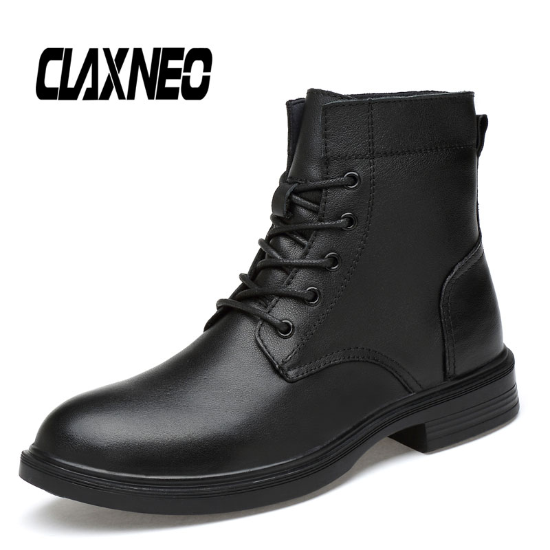 CLAXNEO Man Winter Boots Plush Fur Warm Snow Shoes Male Boot Genuine Leather High Top Walking Footwear