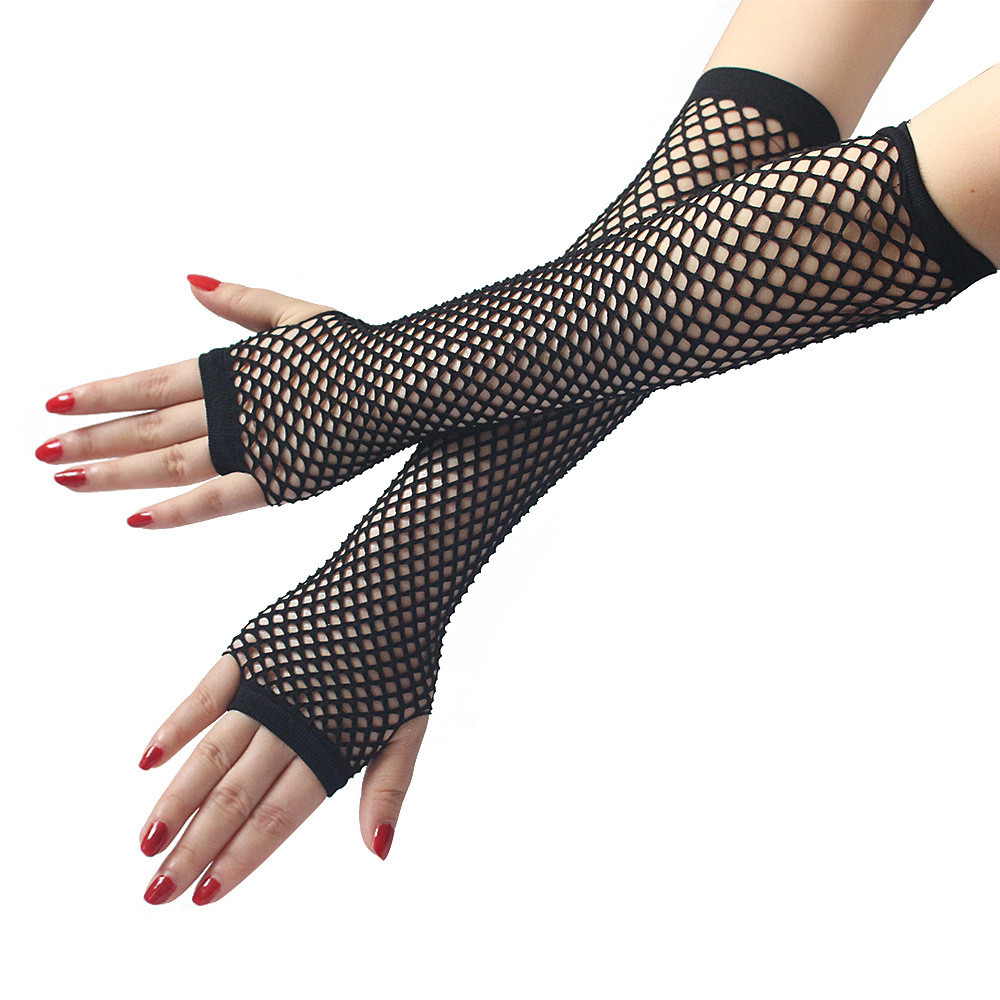 Black Fishnet Fingerless Womens Elbow Gloves