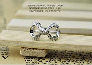 Authentische 925 sterling silber glänzenden bogen ring. Fashion solid silber zirkon CZ frau ring. Damen hochzeit schmuck Charming ring
