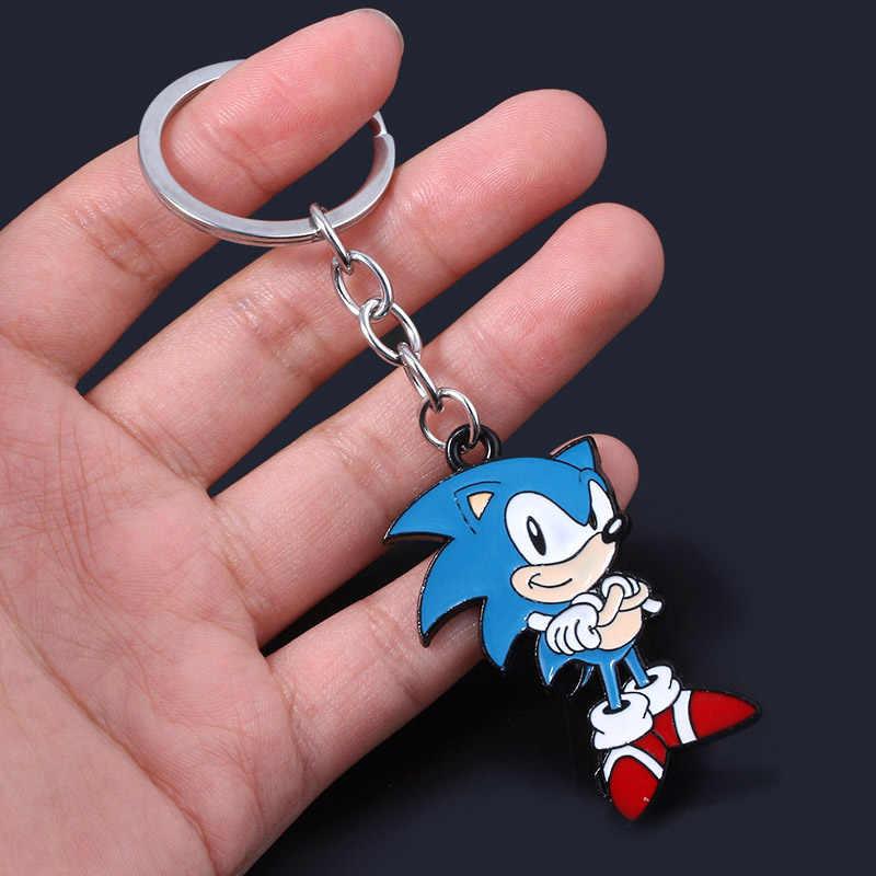 Anime Sonic the Hedgehog Schlüsselanhänger Sonic Abbildung Emaille Metall-schlüsselanhänger Für Männer Schlüssel Frauen Tasche Cosplay Zubehör Schmuck Geschenk