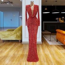 מזרח התיכון ארוך פורמליות שמלת ערב 2019 עמוק V צוואר סקסי קוטור קפטן נשף שמלת נשים שמלות מסיבת קוקטייל סלבריטאים שמלה