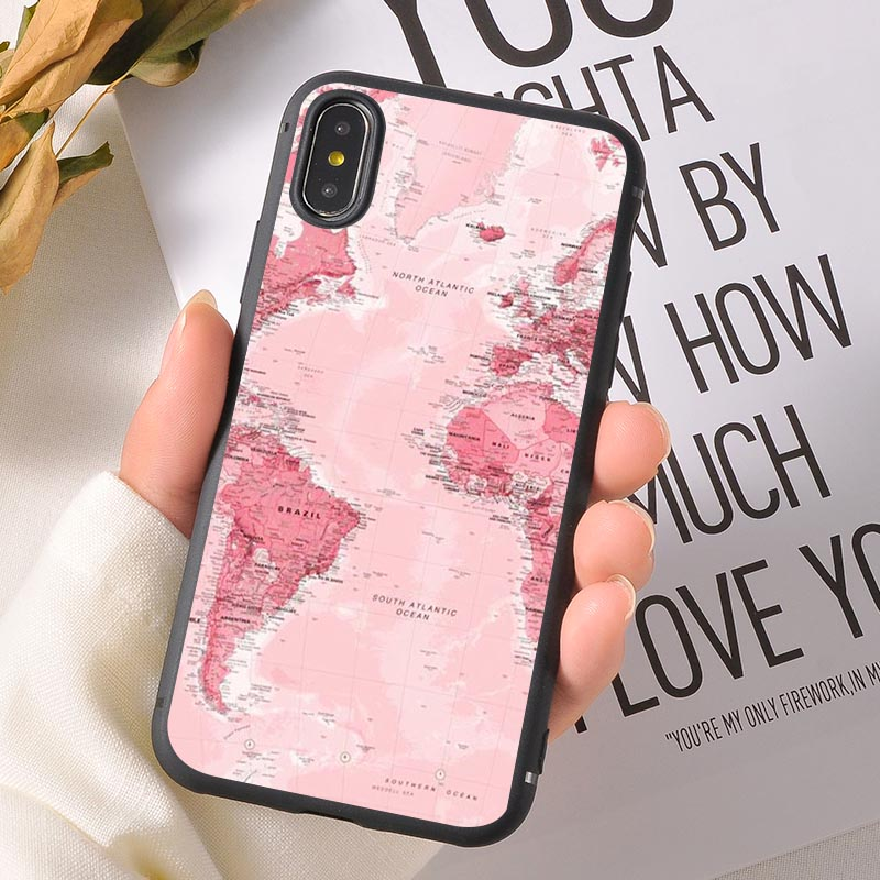 For iPhone X XR XS MAX 8 7 6S 6 S Case Silicone World Map Travel Airplane Soft Back Cover For iPhone 8 7 6S 6 S Plus Phone Cases