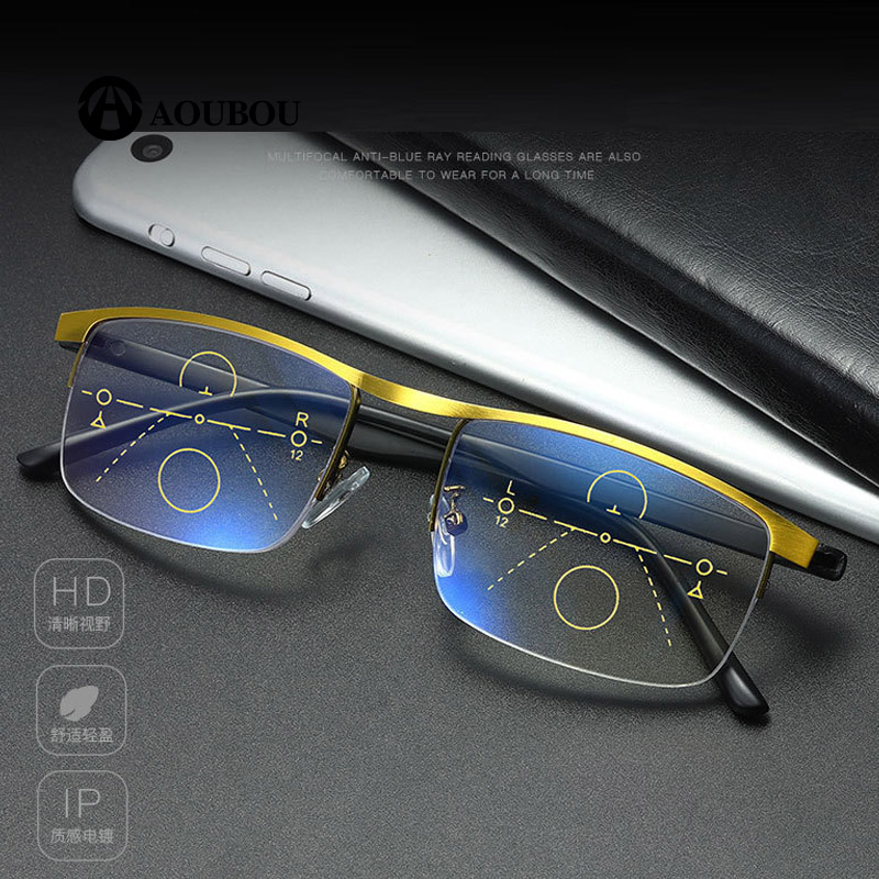 Image 4 - Progressive Multifocal Reading glasses Anti blue light Look far Look in the middle Look near Multifunction eyebrow Retro  RetroWomens Blue Light Blocking Glasses   -