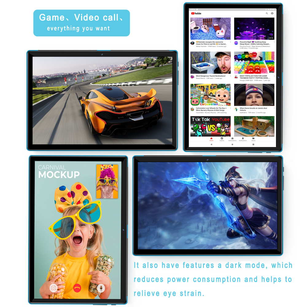 New Tablet Pc 10.1 Inch Android 9.0 Tablets Octa Core Google Play 3G 4G LTE Phone Call GPS WiFi Bluetooth 10 Inch Glass Panel 6