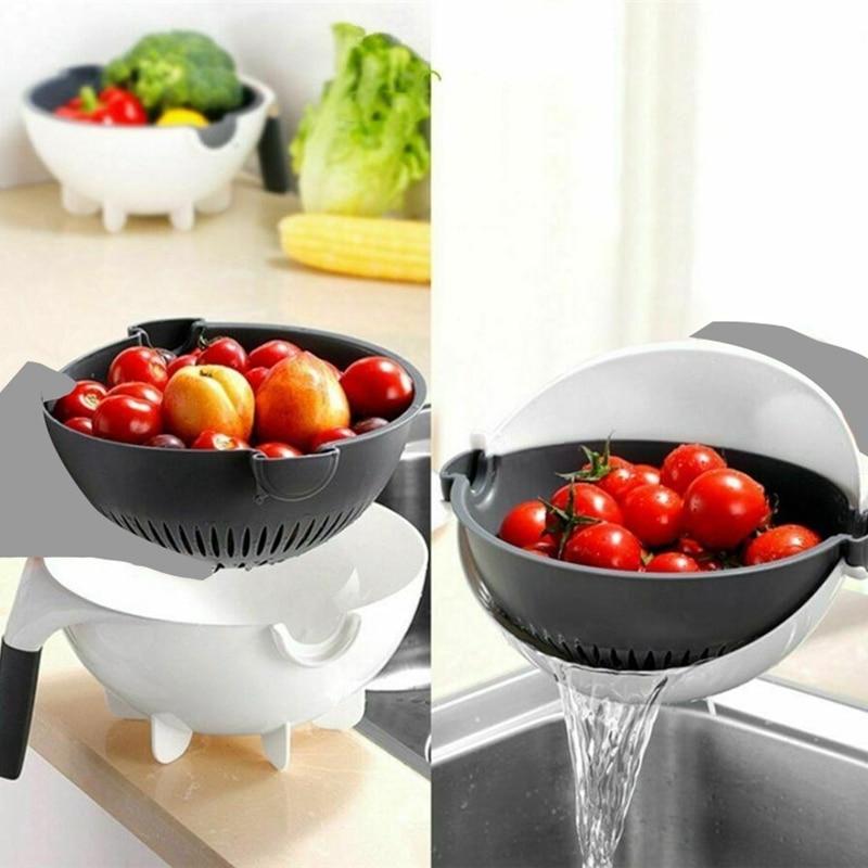 ABRA-Magic вращающийся овощерезка с дренажной корзиной Многофункциональный кухонный измельчитель овощей фруктов Терка слайсер