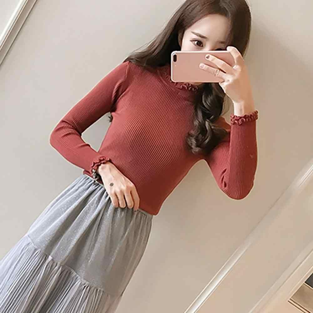 INS 2019 ฤดูใบไม้ร่วงใหม่แฟชั่นผู้หญิงคอเต่านุ่ม Slim เสื้อกันหนาวผู้หญิงเกาหลีสบายๆถักซี่โครงเสื้อกันหนาว