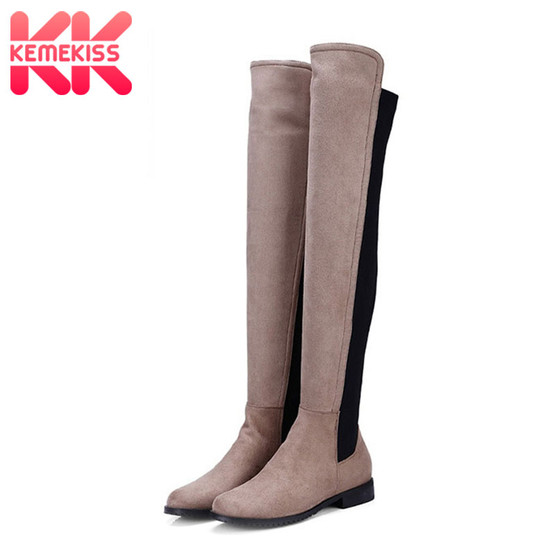 KemeKiss 5 Colors Women Warm Fashion Over The Knee Boots Office Ladies Square Heel Flats Boots Ladies Casual Shoes Size 34-43