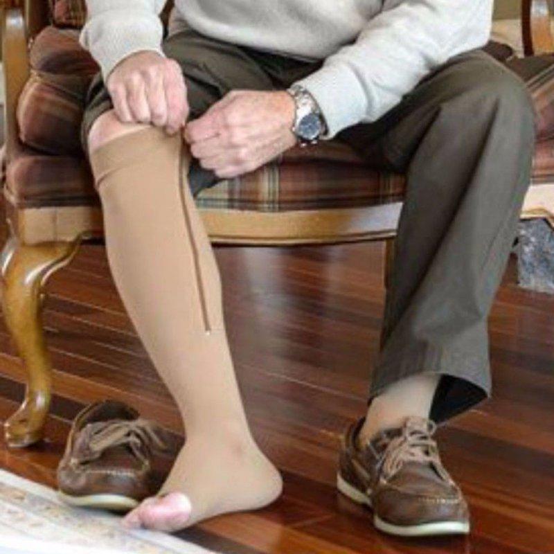 Zipper Compression Zip Leg Support Knee Open Toe Slim Stockings Repair Legs For Men And Women X