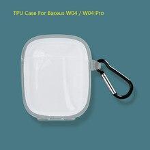 Claro macio silicone cristal tpu caso para baseus w04 pro w05 fone de ouvido capa caixa de carregamento sacos sem marcas dwaterágua com gancho anti-perdido