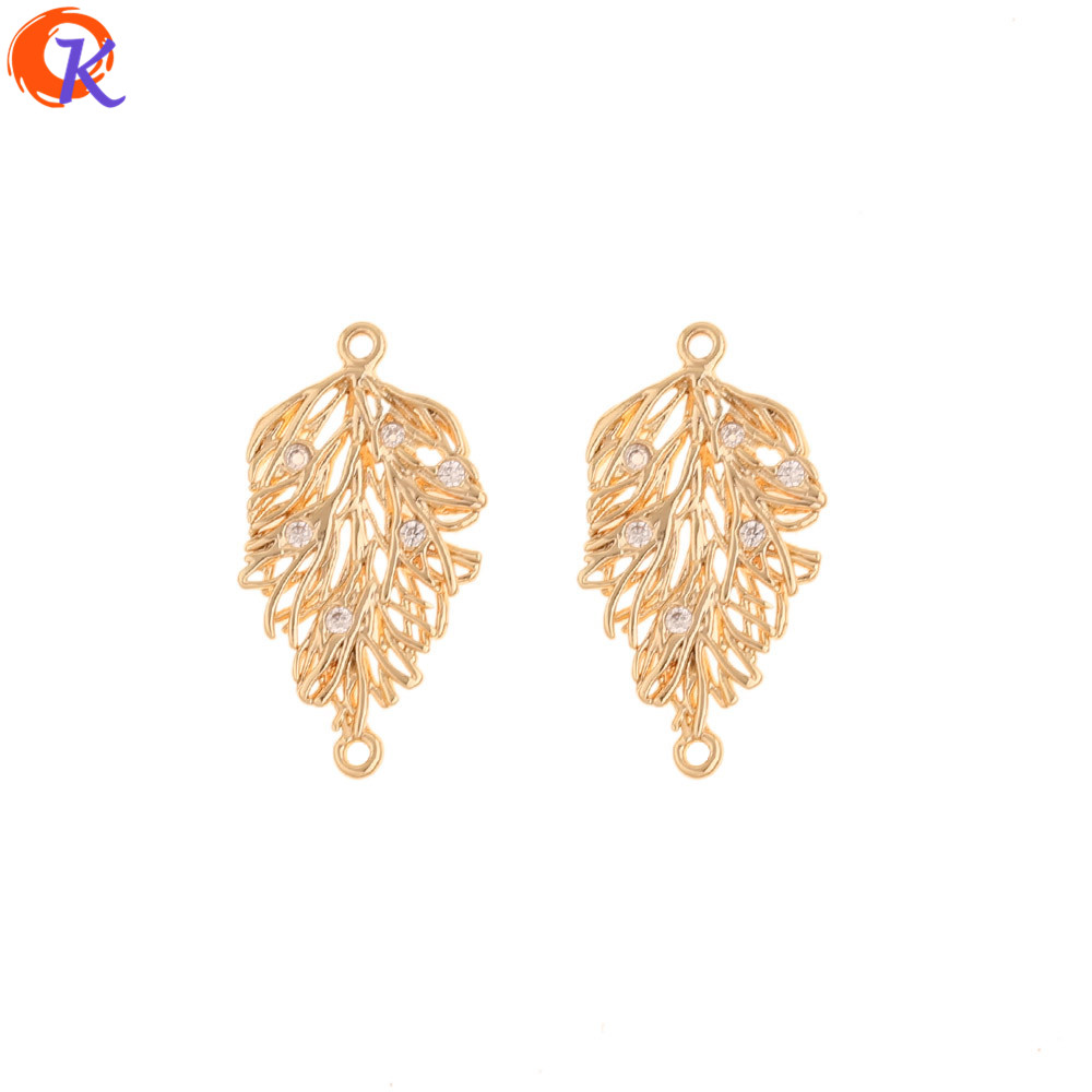 Cordial Design 30Pcs 12*24MM Jewelry Accessories/CZ Connectors/Hand Made/Genuine Gold Plating/DIY Making/Earring Findings