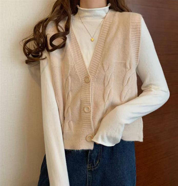 Short High Waist Slim Cable V-neck Sweater Women Spring And Autumn 2021 New Single-breasted Knitted Cardigan Twist Small Jackets 7