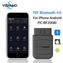 ELM327 Bluetooth 4.0 V1.5 for iPhone and Android with PIC18F25K80 Chipset Free APP FasLink Code Reader