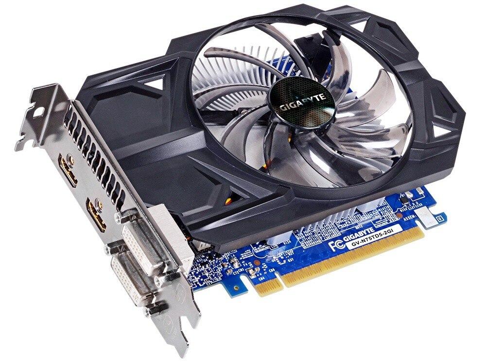 Видеокарта Gigabyte GTX 750Ti 2 Гб, видеокарта NVIDIA GTX750 750 Ti 2 Гб, видеоэкранные карты GPU, настольный компьютер, видеокарта для игр, видеокарта VGA-1