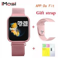 P80 inteligentny zegarek kobiety IP68 wodoodporny pełny ekran dotykowy smartwatch pulsometr dla samsuang xiaomi huawei zegarek