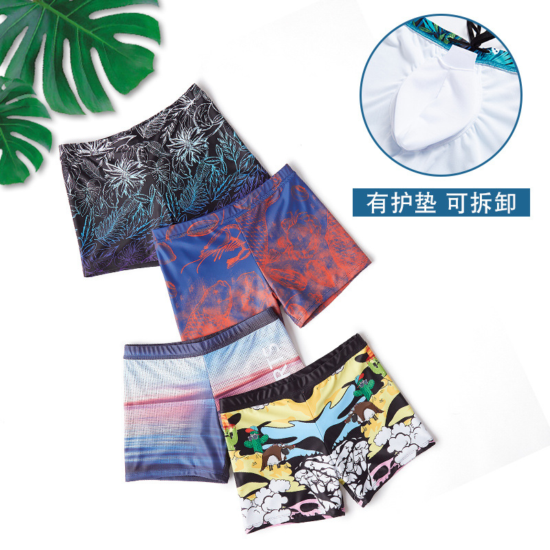 Anti-Awkward Quick-Dry Boxer Adult Men's Loose-Fit Beach Swimming Trunks Men Hot Springs Bathing Suit Leopord Pattern Travel Hol