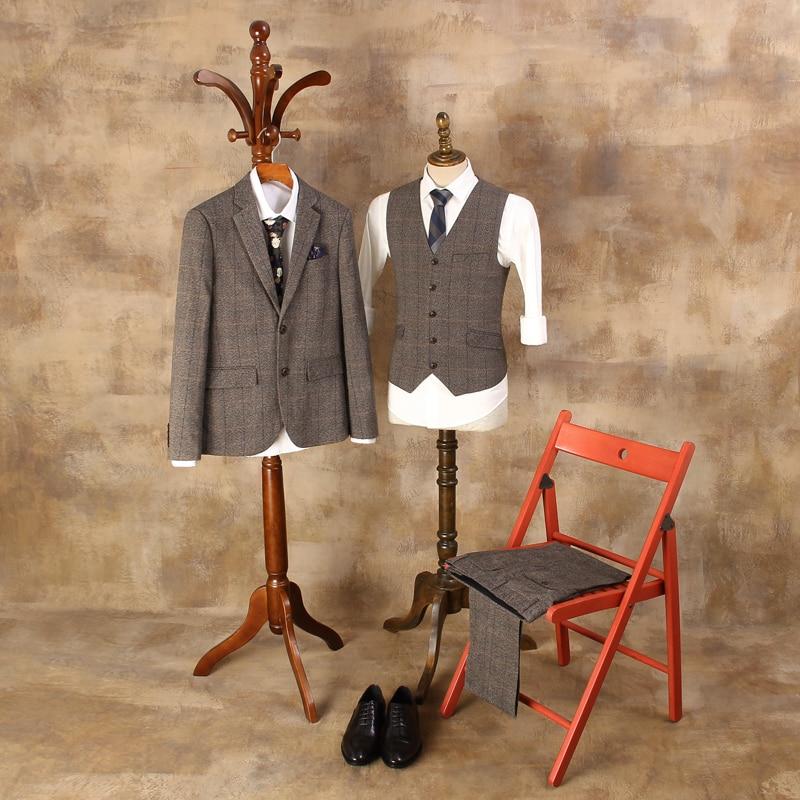 New British Retro Lattice Suits Male Single-breasted Three-piece Business Suits Men Plaid Fashion Suit Jacket Vest