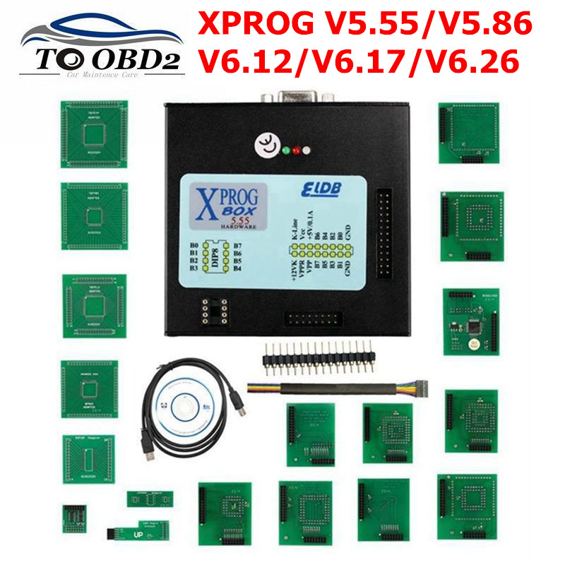 Best quality V5 55 XPROG-M V6 12 Full Adapter Auto ECU Chip Tuning Programming Xprog M 5 55 5 86 6 12 6 17 6 26 Metal Box X-PROG