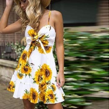 2020Summer Sunflower Dress Women Party Plus Size Flower Beach Female Floral Backless Midi Striped Ladies 3XL
