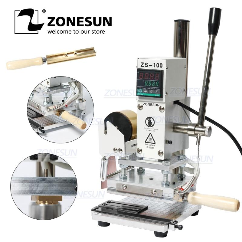 ZONESUN ZS-100 2-w-1 instrukcja skóra LOGO tłoczenie folią na gorąco brązujący maszyna do wytłaczania dziurkarka ciepła 10X13CM