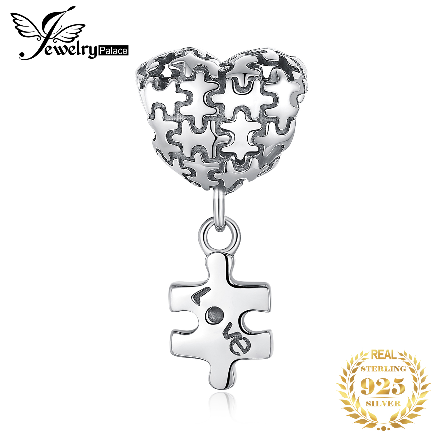 JewelryPalace Jigsaw Puzzle 925 Sterling Silver Beads Charms Silver 925 Original For Bracelet Silver 925 Original Jewelry Making