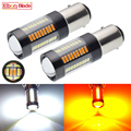 Paar LED Auto Signal Lampe 1157 BAY15D P21/5W 4014 66SMD Weiß/Bernstein Auto Dual Color Switch blinker DRL Lampe Licht 12V DC