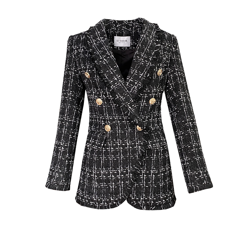 New    blasting with female suit jacket belt braided tweed suit collar wool coat