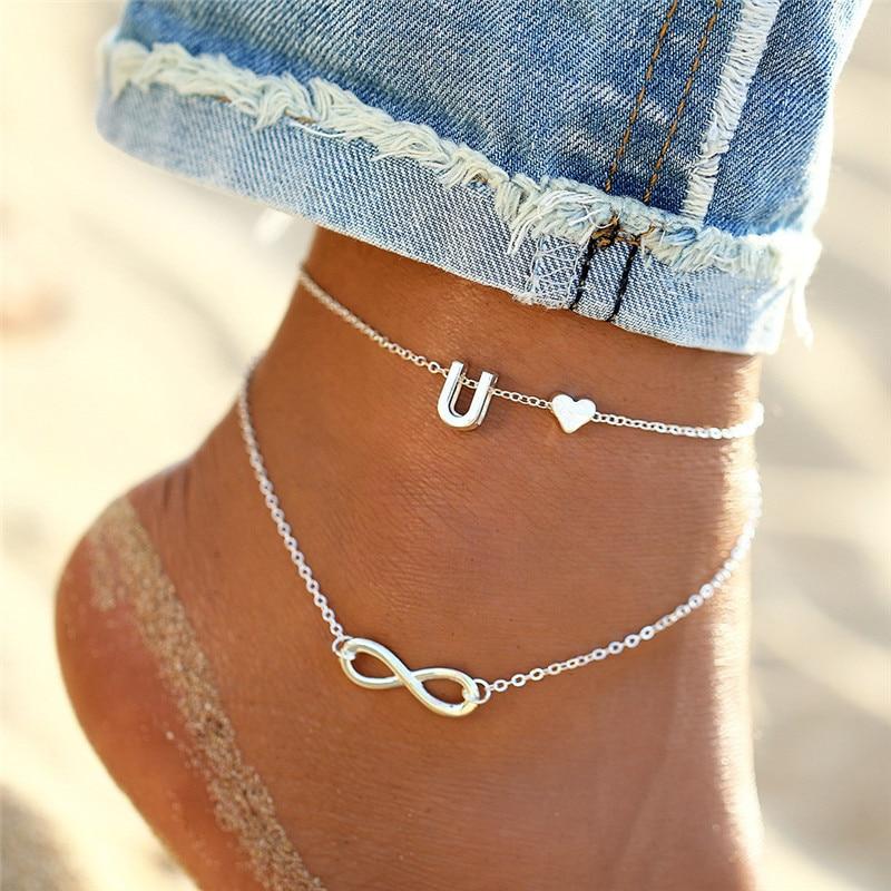 WUKALO Summer Heart Alphabet Leg Bracelets For Women Foot Jewelry Silver Color Feet Chain Friendship Gifts Letter Anklet