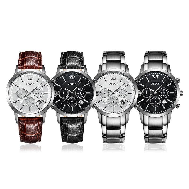 Aesop Sapphire Crystal Watch Men Sport Quartz Stopwatch Wristwatch Auto Date Leather Male Clock Relogio Masculino Hodinky 9966g