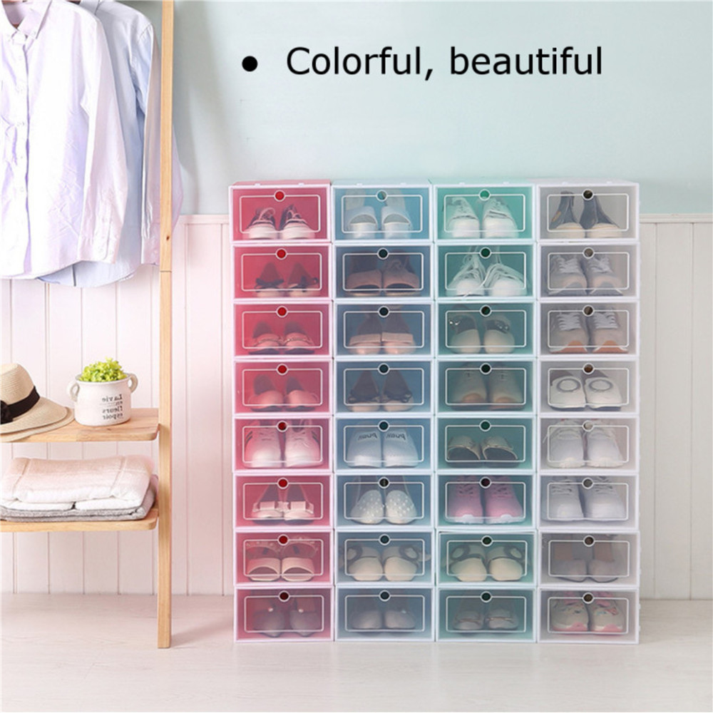 Foldable Shoe Box Plastic  Organizer Drawer Storage Case 3Pcs Shoe Box  With Flipping  Clear Door Ladies Men Universal33x24x14cm
