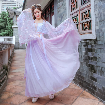 Women Embroidery Hanfu Classical Dance Costume Singer Festival Outfit Folk Rave Performance Clothes Oriental Fairy Dress DF1340