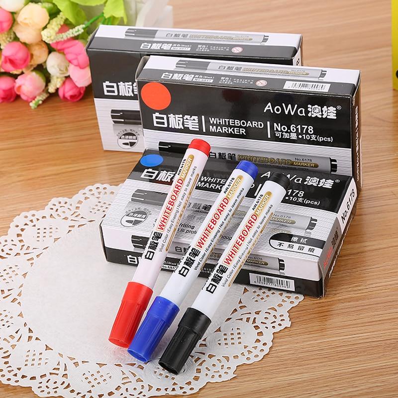 10PCS/box Colorful Whiteboard Pen Black White Board Markers School Supplies Children's Drawing Pen Escola
