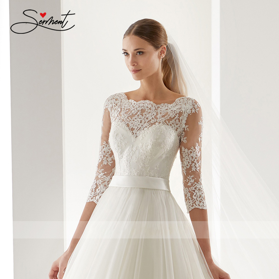 Image 5 - OllyMurs 2020 Luxury Wedding Dress Long Sleeve Turtleneck Applique Lace Wedding Noble Applique Muslim Brides Support Tailor madeWedding Dresses   -